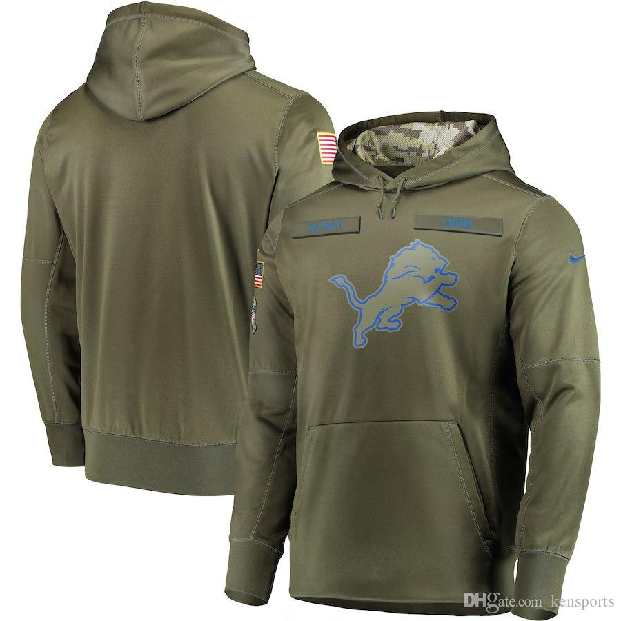 63de34263c0 Men Detroit Lions Olive Salute to Service Sideline Therma Performance Pullover  Hoodie New Shorts New Jersey New Hoodies Online with  37.87 Piece on ...