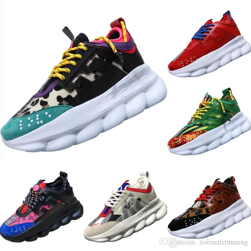 c08e0f5e6e3d With Box 2019 Chain Reaction Genuine Leather Decorate Fur   Mesh Running  Shoes Chain Reaction Thick Sole Cushioning Lovers Athletic Shoes Running  Gear For ...
