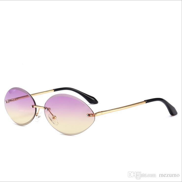 81038a54a9 Compre Nuevas Gafas De Sol Ovaladas Para Mujer Sin Montura, Lentes De Corte  De Diamante, Lentes De Sol, Lentes De Sol Para Mujer, Color Azul Claro Y  Púrpura ...