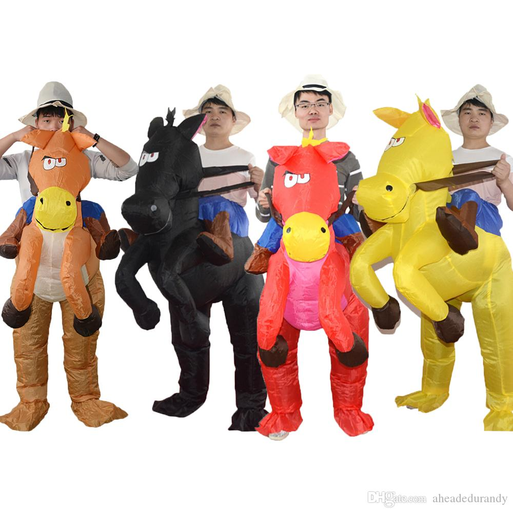 Inflatable Cowboy Costume Western Fancy Dress for Men Women Horse mascot Halloween Christmas Party Suit