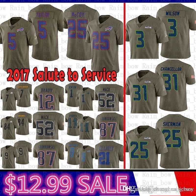 c8fe35765 2019 Good Salute To Service Jersey Seattle Seahawks 3 Russell Wilson 31 Kam  Chancellor 25 Richard Sherman Buffalo Bills LeSean McCoy Tyrod Taylor From  ...