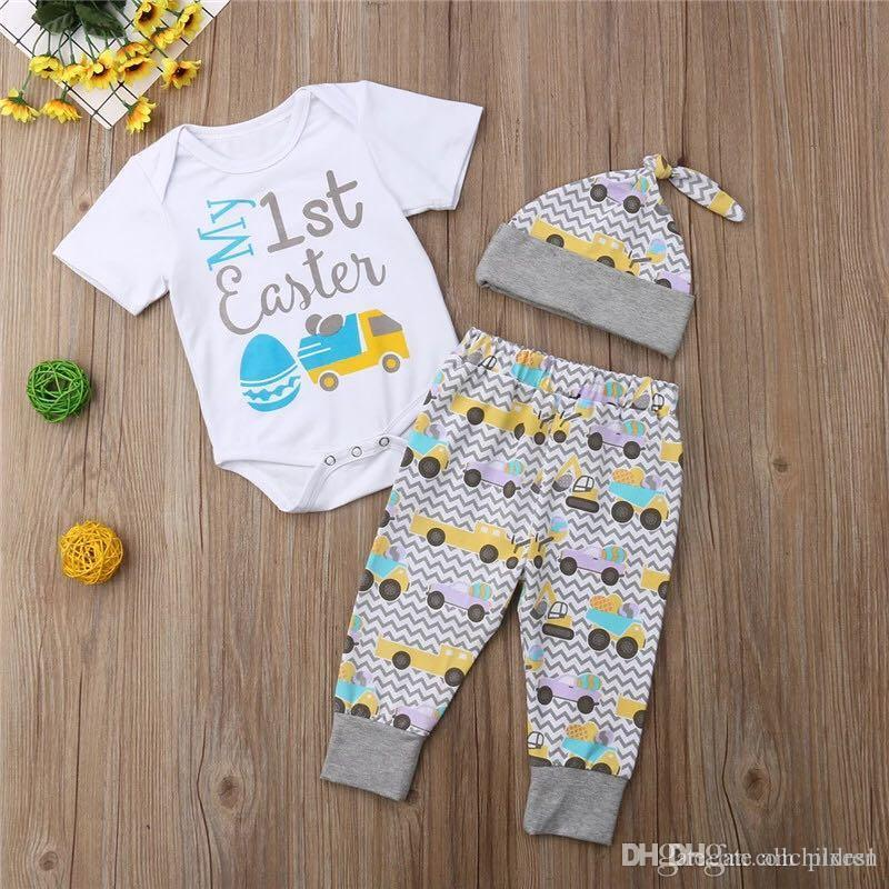 470d1f65d 2019 Easter Newborn Kids Baby Girls Clothes Round Neck Short Sleeve Bodysuit  Car Print Pants Geometry Hat Toddler Cotton Lovely Outfits From Pixes1, ...
