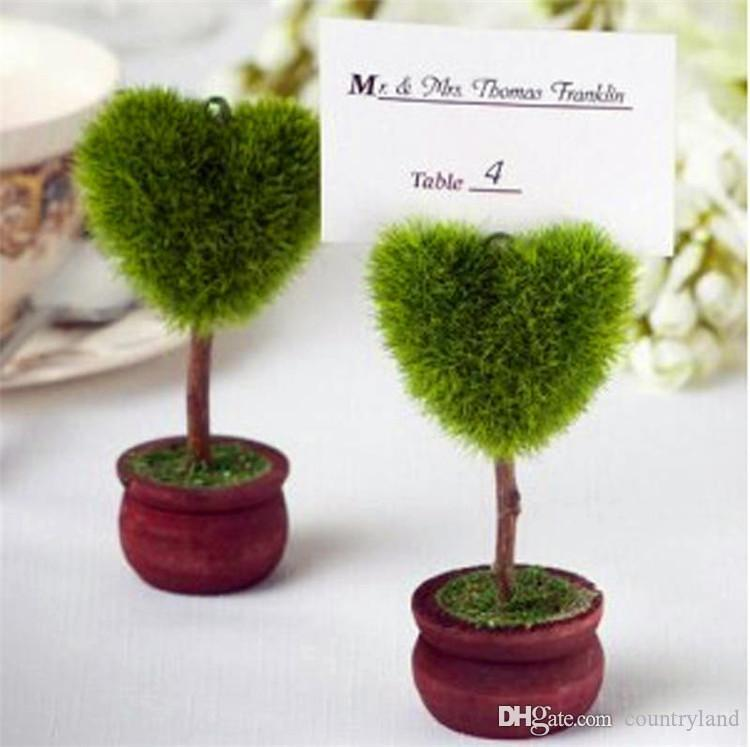 100pcs Heart Shaped Ball Shaped Topiary Tree Photo and Place Card Holder Wedding Table Decoration wen4411 20180920#