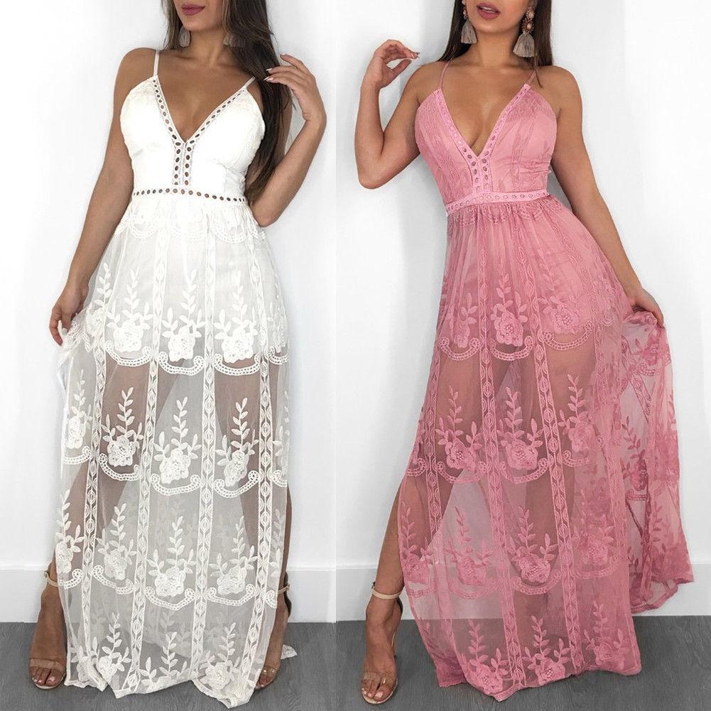 47bbc7b830900 Women Dress Boho Lace Maxi Dress Lady Evening Party Beach Sleeveless V neck  Summer Dress Sundress Sexy Vestidos