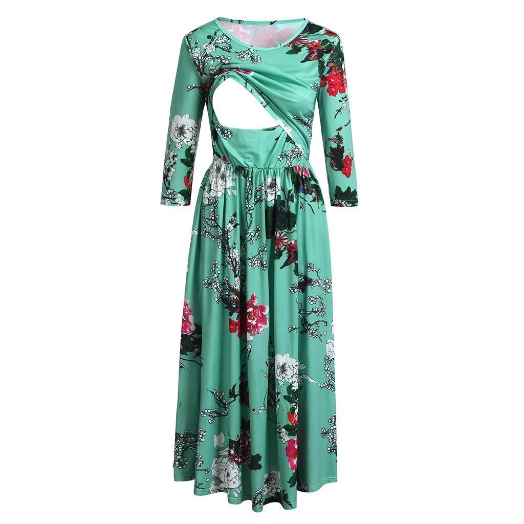 d9beb5c57f3f 2019 Nursing Dress Top Women Long Sleeve Flower Breastfeeding Winter Dress  For Feeding Maternity Pregnancy Clothes Plus Size 18Dec18 From Friendhi