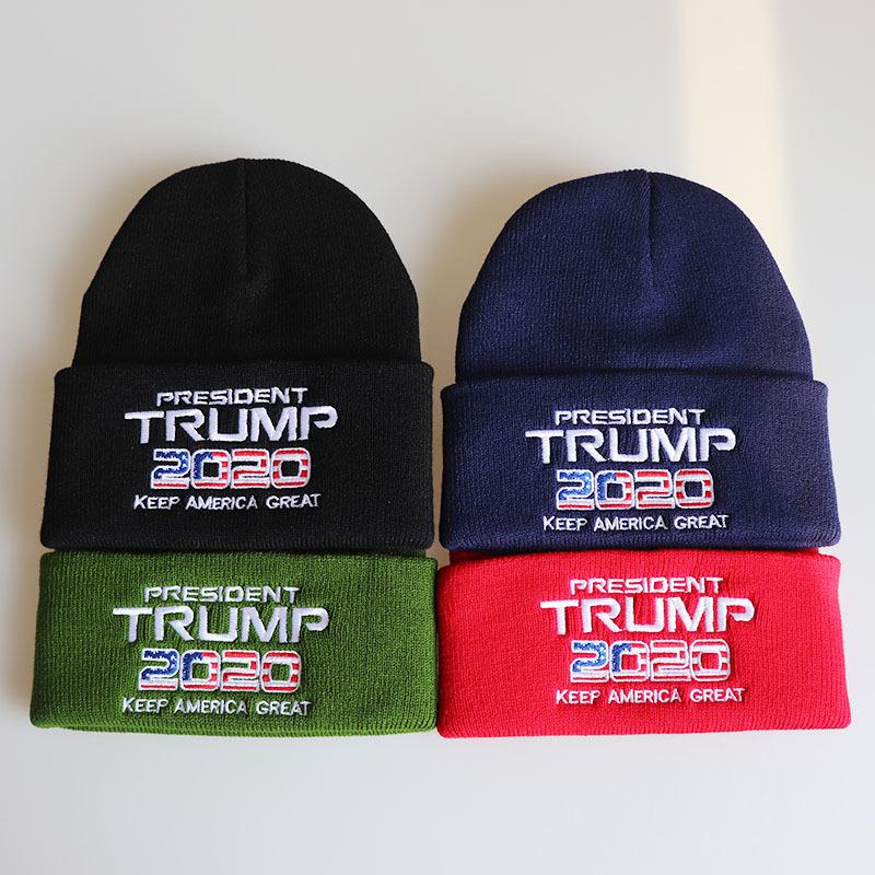 Trumpfhüte 2020 Präsident Strickmützen Keep America Great Stickerei Winter Warm Ski Hats Outdoor Strickmütze Cap MMA2433