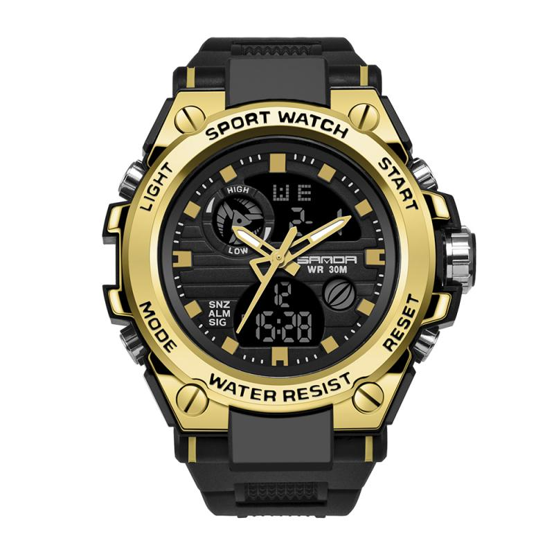 508a47a43 Sanda Brand 739 Men s Watches Dual Display Led Analog Waterproof Clock  Sports Digital Quartz Men Watch reloj hombre