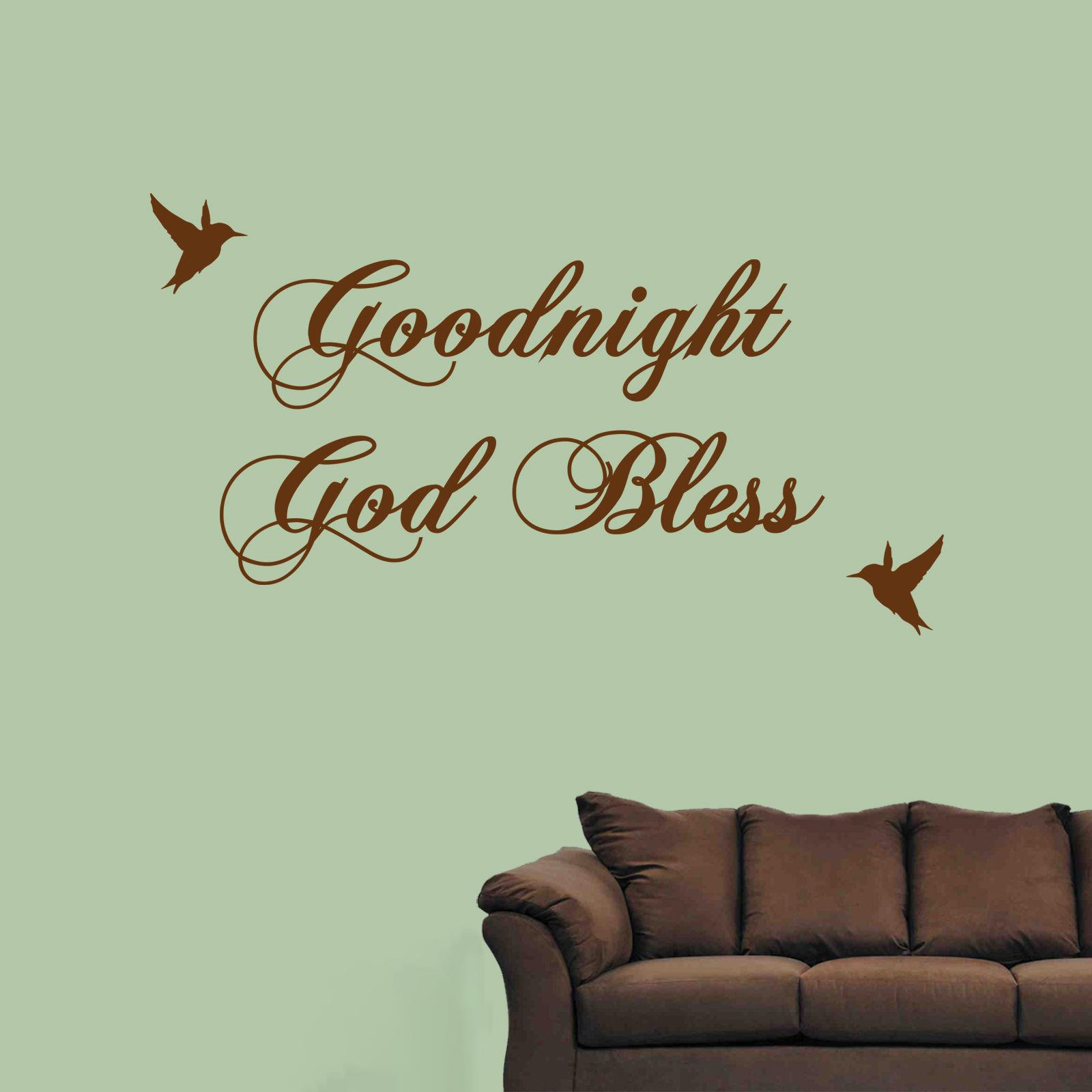 Goodnight God Bless Wall Sticker Quote Art Decal Birds Art Painting