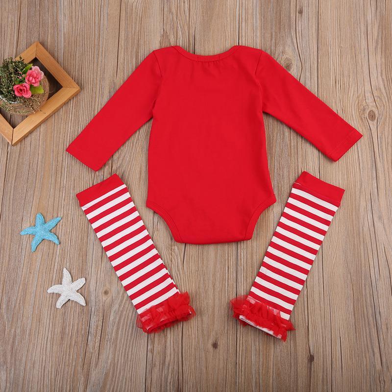 Pudcoco ABD Stok 0-24M Moda Yenidoğan Bebek Kız Bebek Noel Baba Uzun Kollu Romper + Ayak Isıtıcıları Kıyafetler Giyim Seti