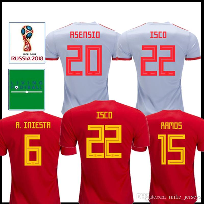 5e6a83a3a63 2019 Spain Soccer Jersey 2018 World Cup Spain Home Away Soccer Shirt 2018   22 ISCO  20 ASENSIO  15 RAMOS Football Uniforms Sales From Mike jerseys
