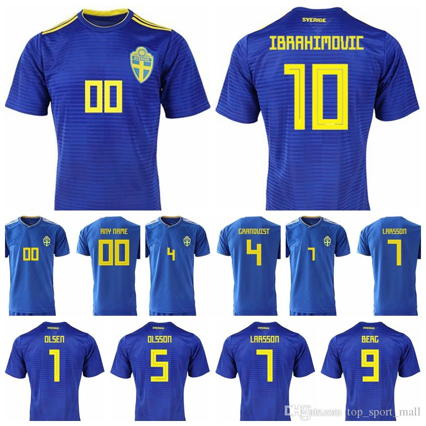 493c1d426 2019 Men Sweden Jersey 8 EKDAL 10 FORSBERG 10 IBRAHIMOVIC 1 OLSEN Football  Shirt Kits Goalkeeper 5 OLSSON 6 AUGUSTINSSON National Team Yellow From ...