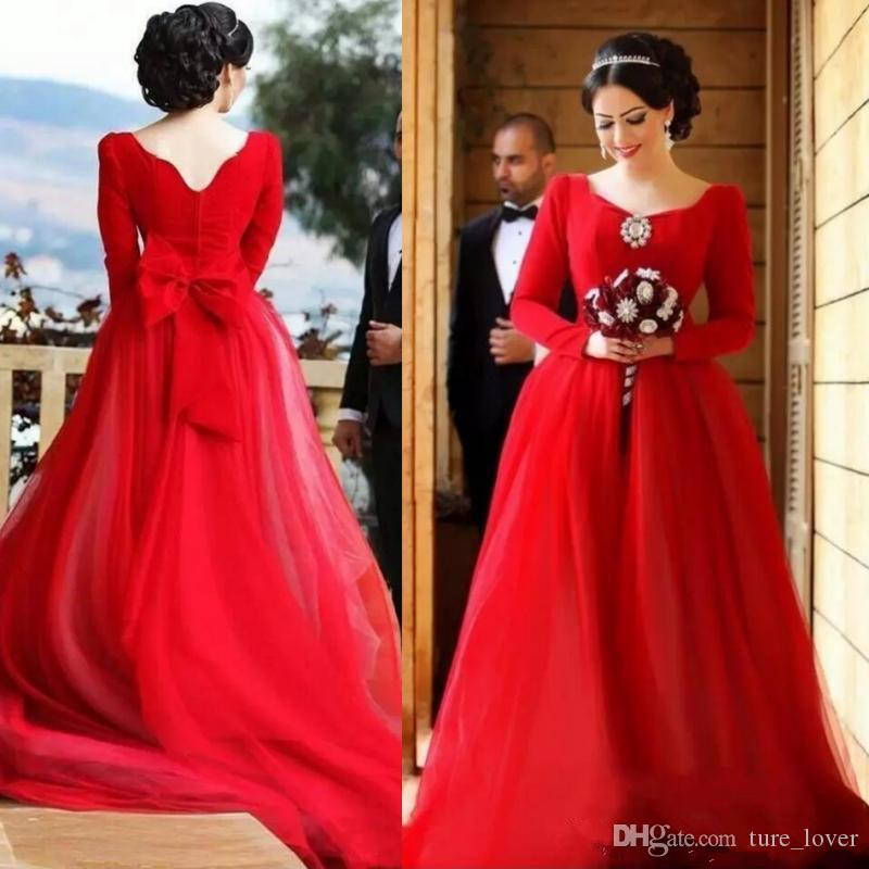 Arabic Red Wedding Dresses New Modest Design Long Sleeve Crystals Big Bow Back A Line Muslim Simple Bridal Gowns Custom Plus Size