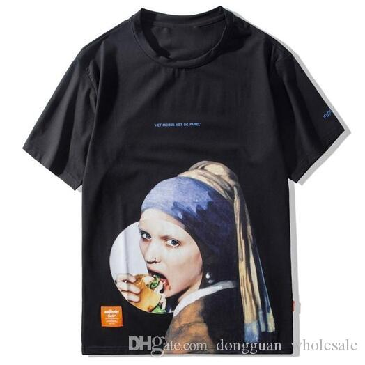 59faac5dd6 Girl with a Pearl Earring T Shirts Men Funny Printed Short Sleeve  Streetwear Tshirts 2019 Male Hip Hop Casual Tops Tees