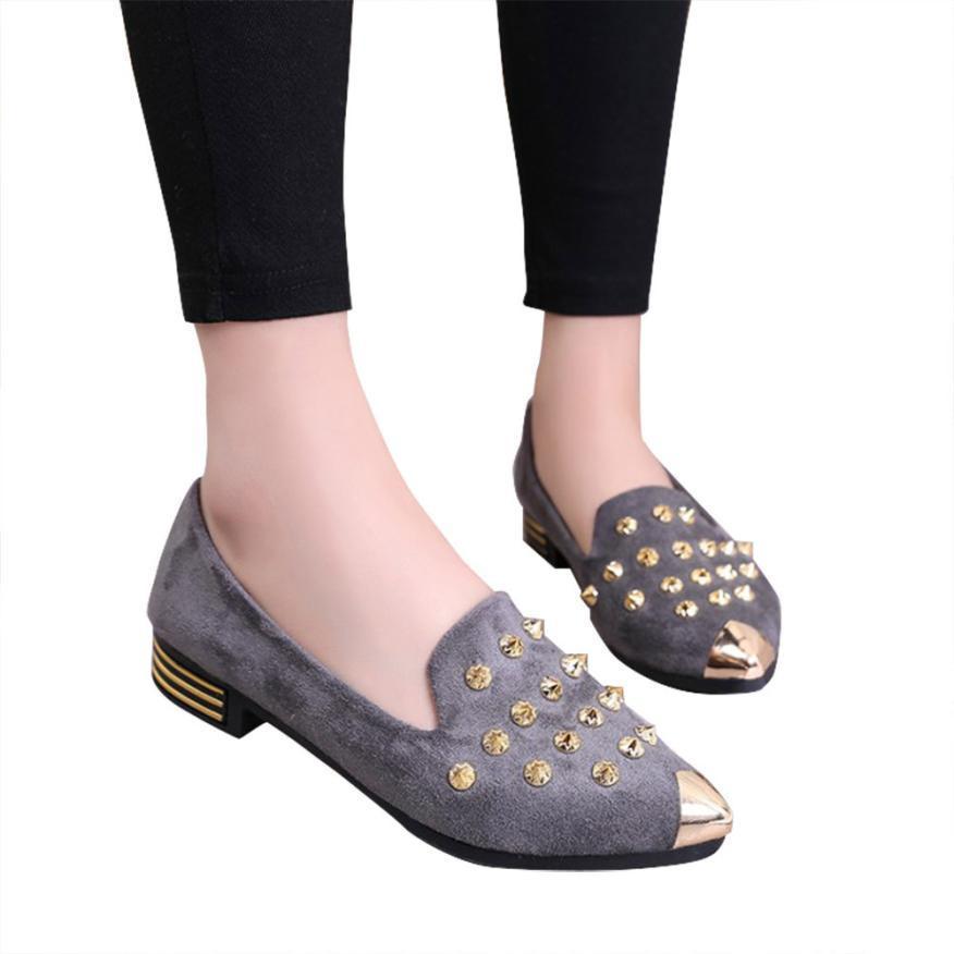 da21b112309 Acheter 2019 Robe 2018 Nouveau Printemps Nouveau Chaussures De Dames Pointu  Toe Chaussures De Rivet Confortable Femmes Bas Chaussures À Talons De   17.21 Du ...