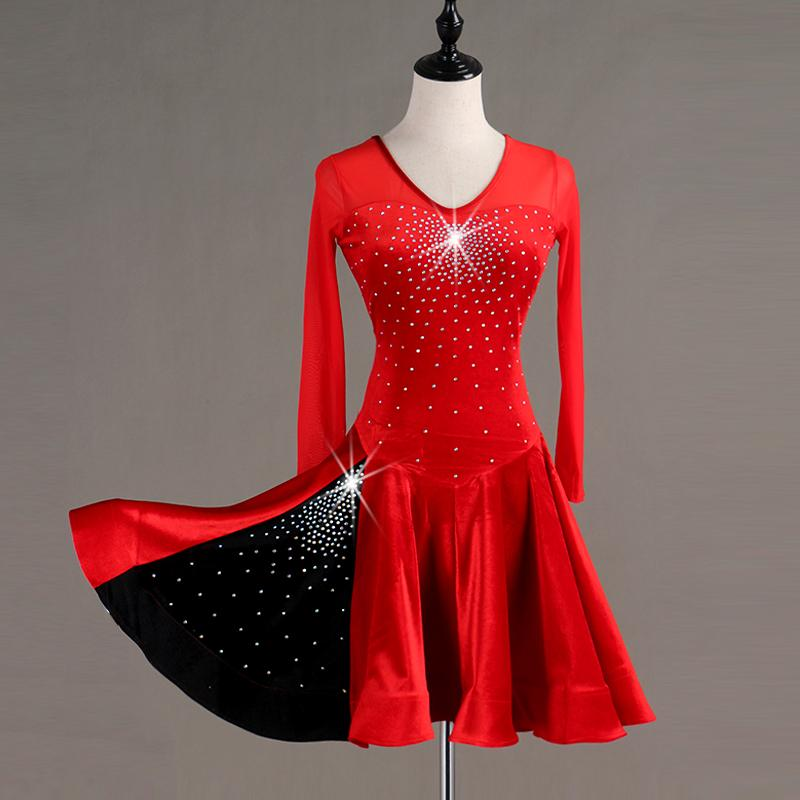 Adult Rhinestones Latin Dance Dresses Sexy Long Sleeve Dress Women Latin Ballroom Dance Competition Clothing Red Rumba Costume