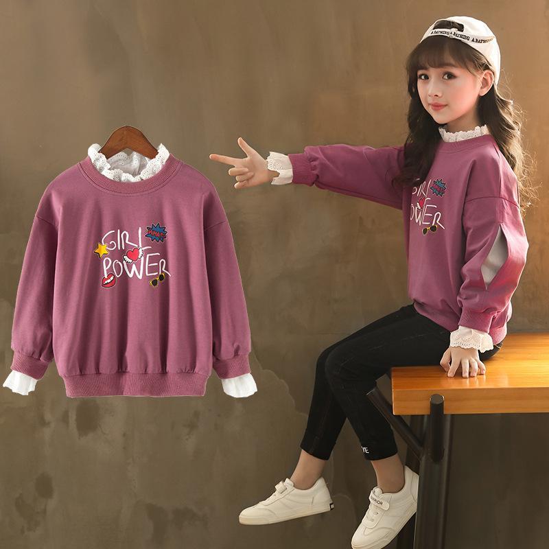 200479f55 Nuevo otoño invierno niñas sudaderas con capucha de dibujos animados 2018  niños abrigo de algodón para niña 4T-12 años ropa de moda púrpura ...