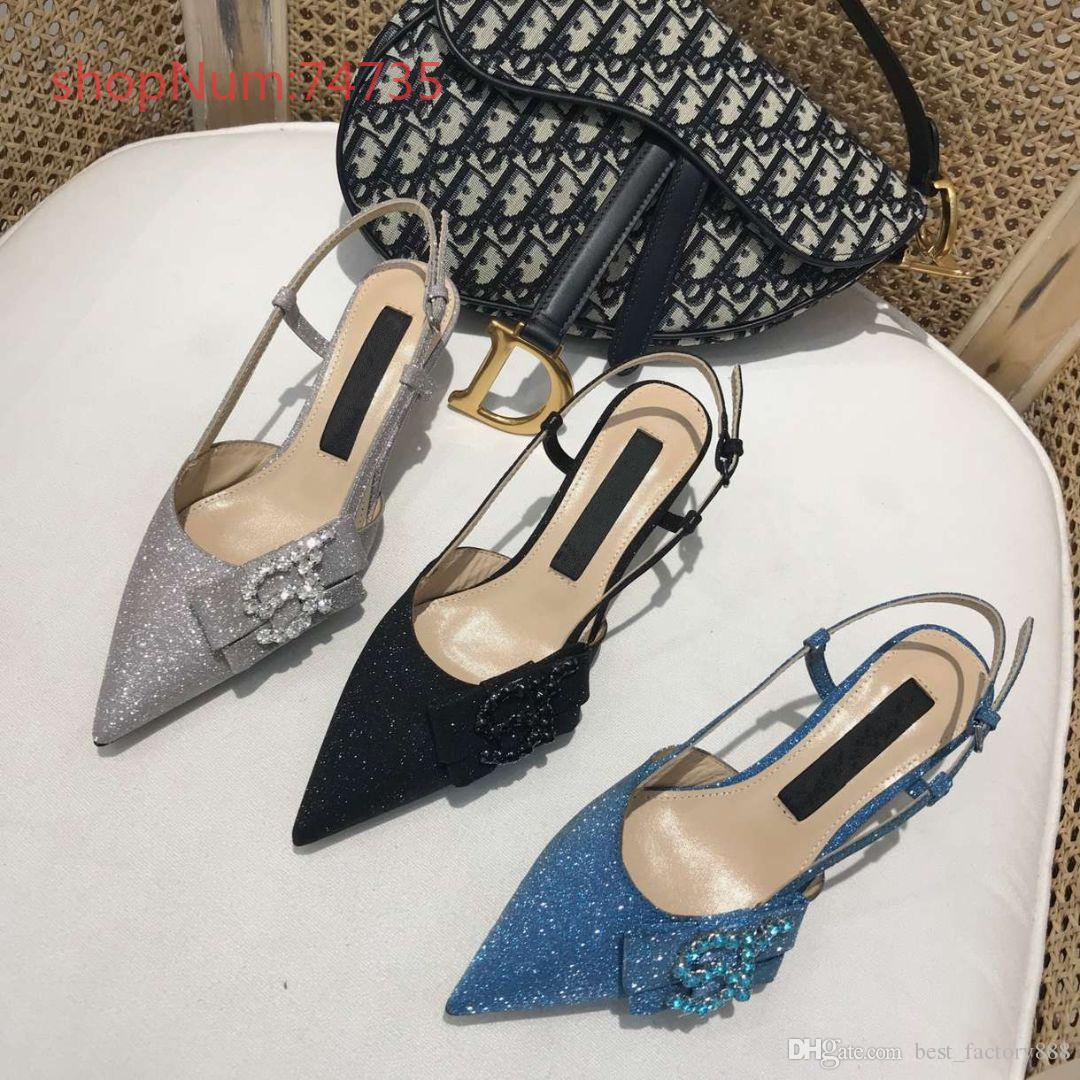ff3c3497ae00 2019 High-end Luxury Brand Women Sandals with Kitten Heel Bright ...