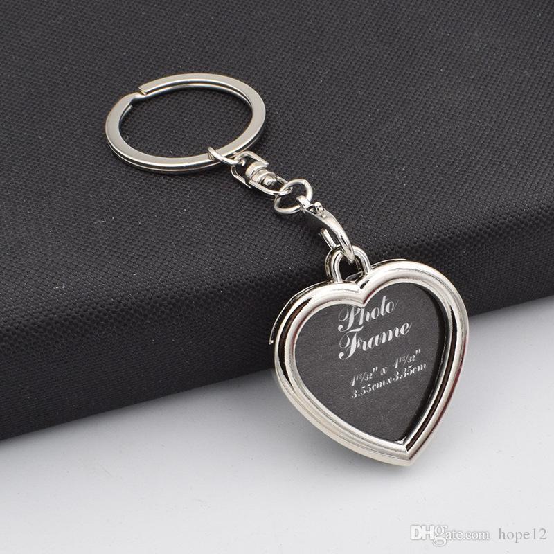 6styles Photo Frame tondo cuore mela ovale forma rombo in lega di metallo portachiavi portachiavi portachiavi auto portachiavi coppie portachiavi regalo