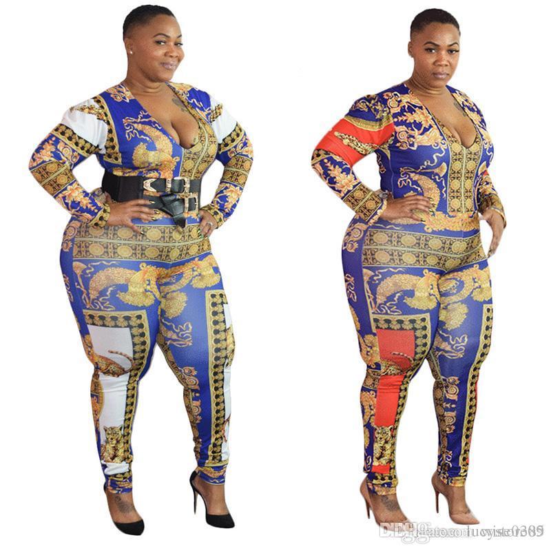 f70dba0f01 2019 New Fashion Women Floral Print Jumpsuit Long Sleeve Slim ...