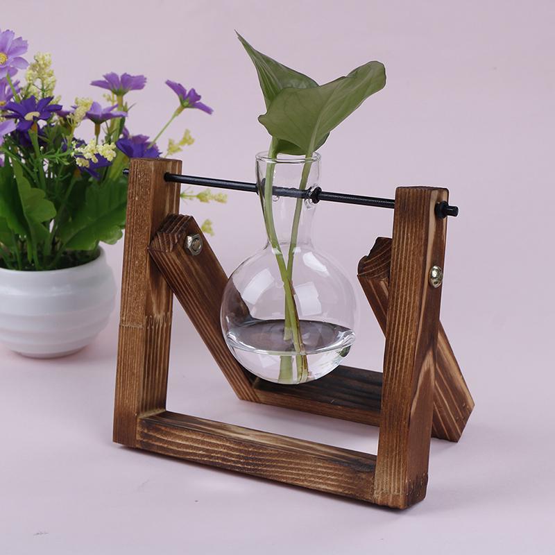 Tremendous Creative Hydroponics Planter Flower Pot Wooden Stand Glass Terrarium Container Tabletop Vase Diy Home Office Wedding Decor Interior Design Ideas Apansoteloinfo