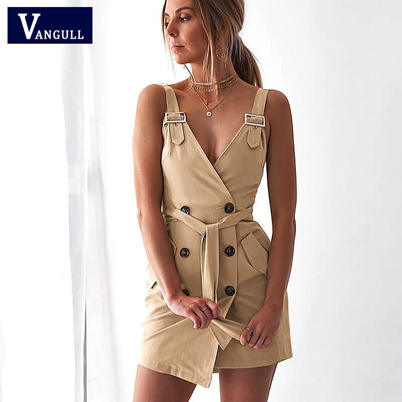 e58219b4d729a Vangull Sexy Summer Dress Women Backless Office Party Short Dress Button V  Neck Belt Elegant Bodycon Club Casual Dresses Hot Elegant Evening Dresses  Woman ...