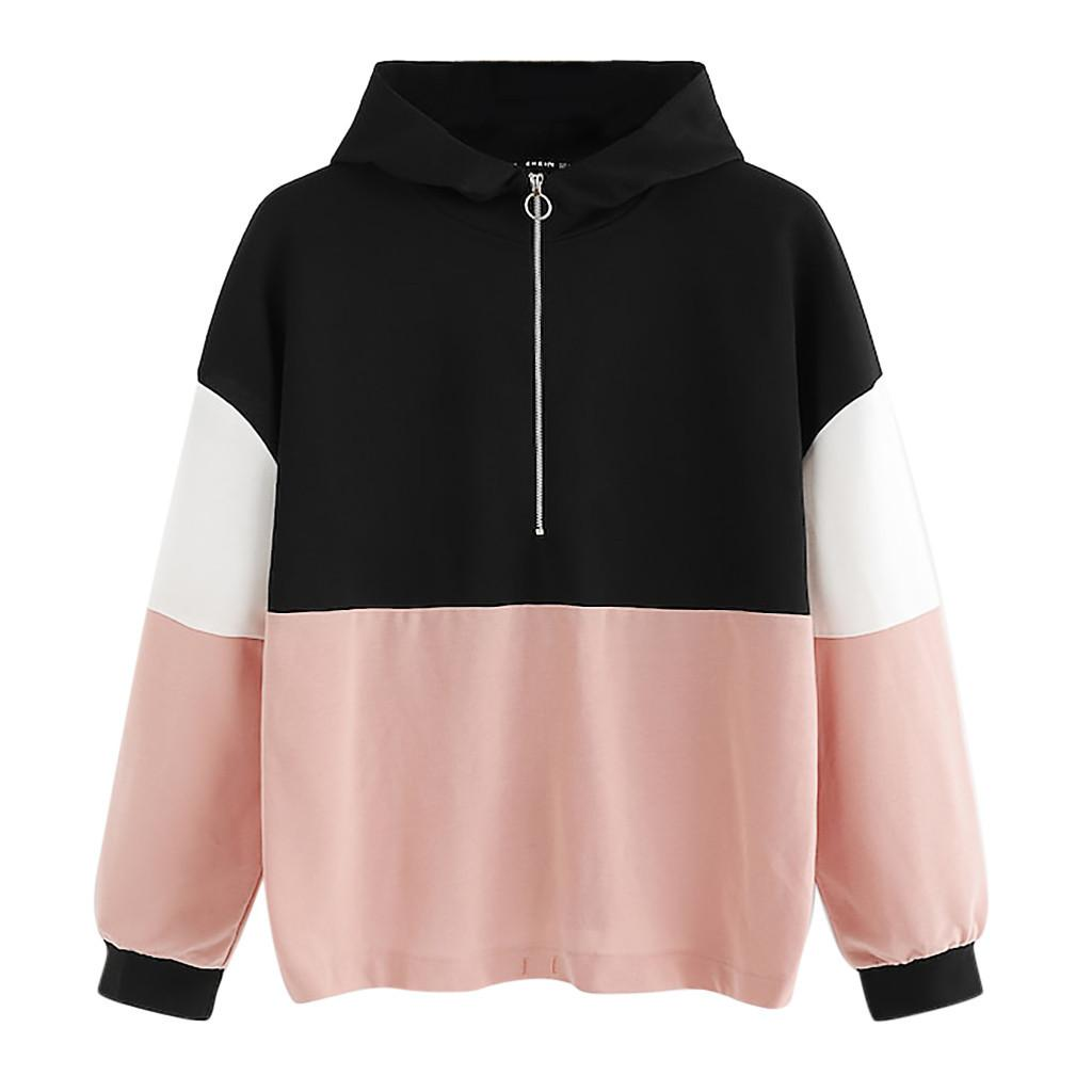 22952688433 2019 Women O Ring Zip Front Cut And Sew Hoodie Multicolor Sweatshirt  Athleisure Stand Collar Raglan Sleeve Pullovers 2019  VE From Lichee666