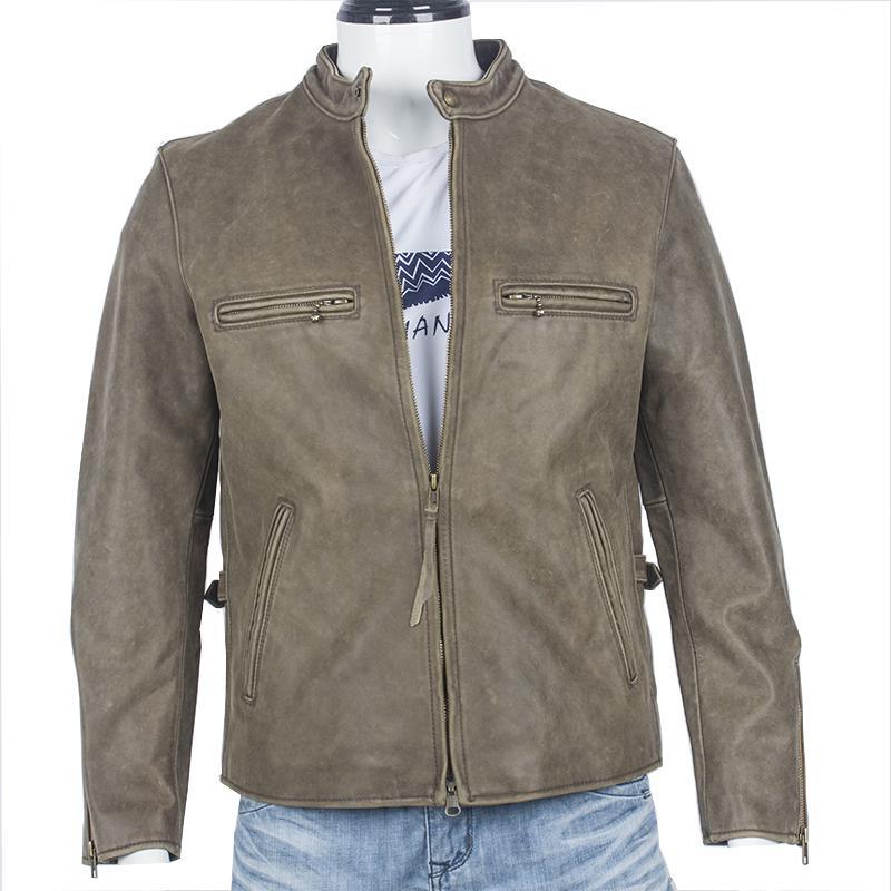 Chaqueta De Damson Compre Cuero Claro Hombres Marrón Fit Harley Slim v01v6B