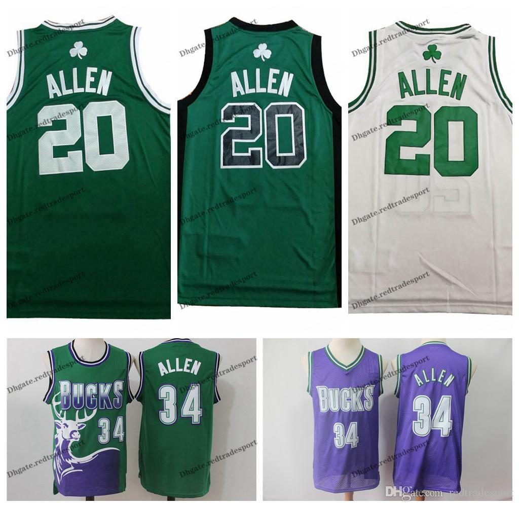 check out a952b 0d432 Vintage Mens #34 Milwaukee Ray Allen Bucks Basketball Jerseys Cheap Green  Purple Boston Ray Allen Blue Bucks Stitched Shirt S-XXL