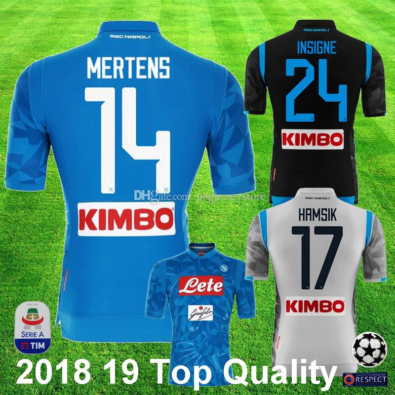 wholesale dealer 83786 5c61a 2018 2019 Napoli Soccer Jerseys MERTENS HAMSIK INSIGNE Serie A napoli  Football Shirt MILIK ALLAN MAKSIMOVIC 18 19 Top Quality Soccer Kit