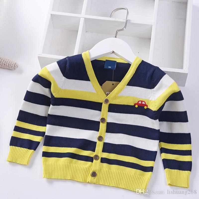 4f9882d25 2019 Spring Autumn Knitted Cardigan Stripe Boys Sweater Children ...