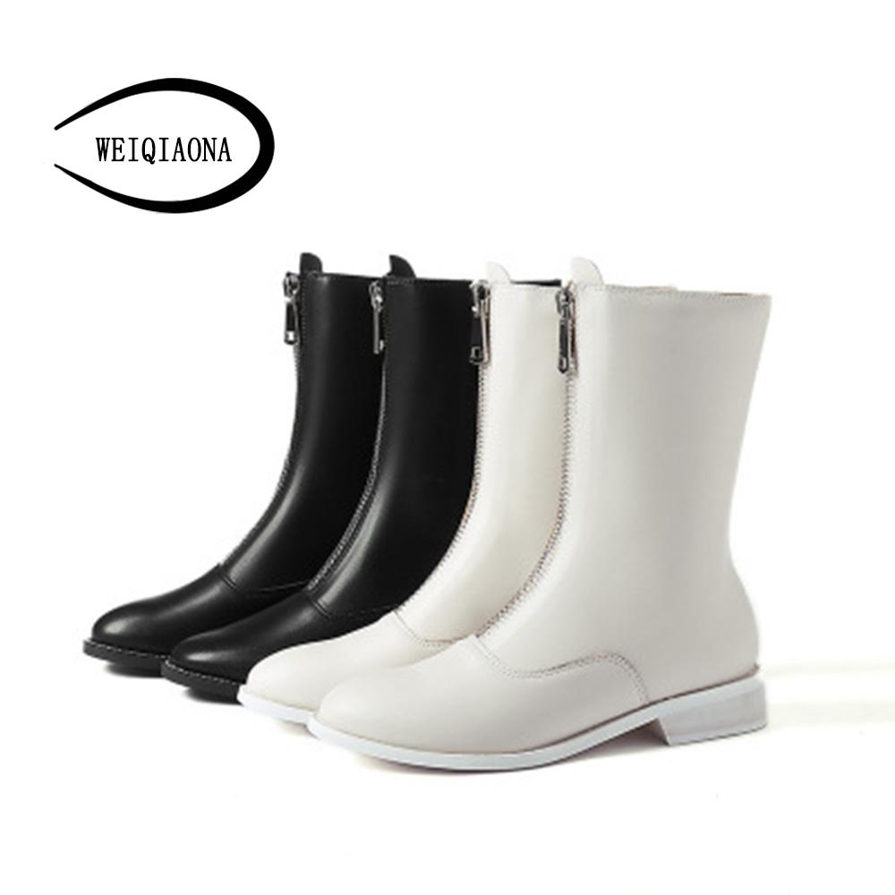 63c9ac4da81a WEIQIAONA Winter Women Shoes Zipper Round Toe Short Boots Low Heels Ladies  Shoes Dress Stars Model Mid Calf Boots Womens Ankle Boots From Leafie