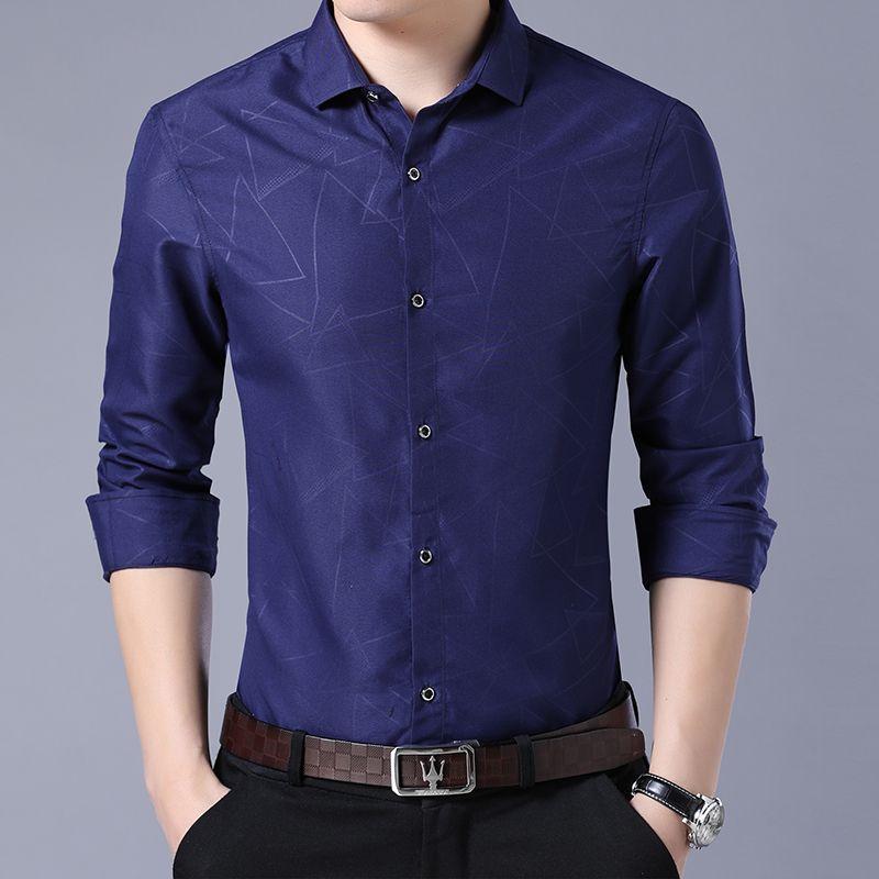 304a47f66f23 2019 Nuevos Hombres Camisas de vestir Ropa de marca Moda Camisa Camisa  social de los hombres Casual Slim Fit camisa de manga larga tamaño asiático  ...