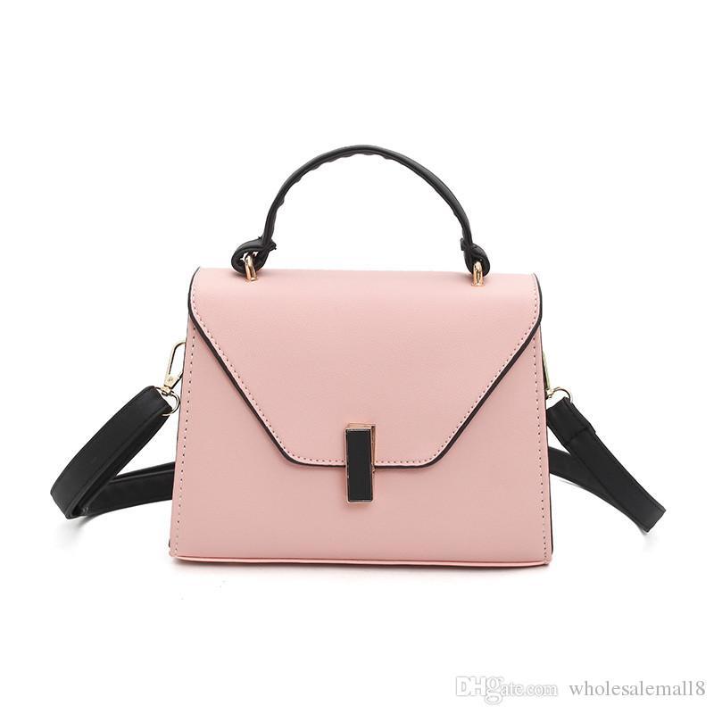 2019 New Women Solid Rivet Totes Hasp Cover Small Flap Handbag ... ea549991b2487