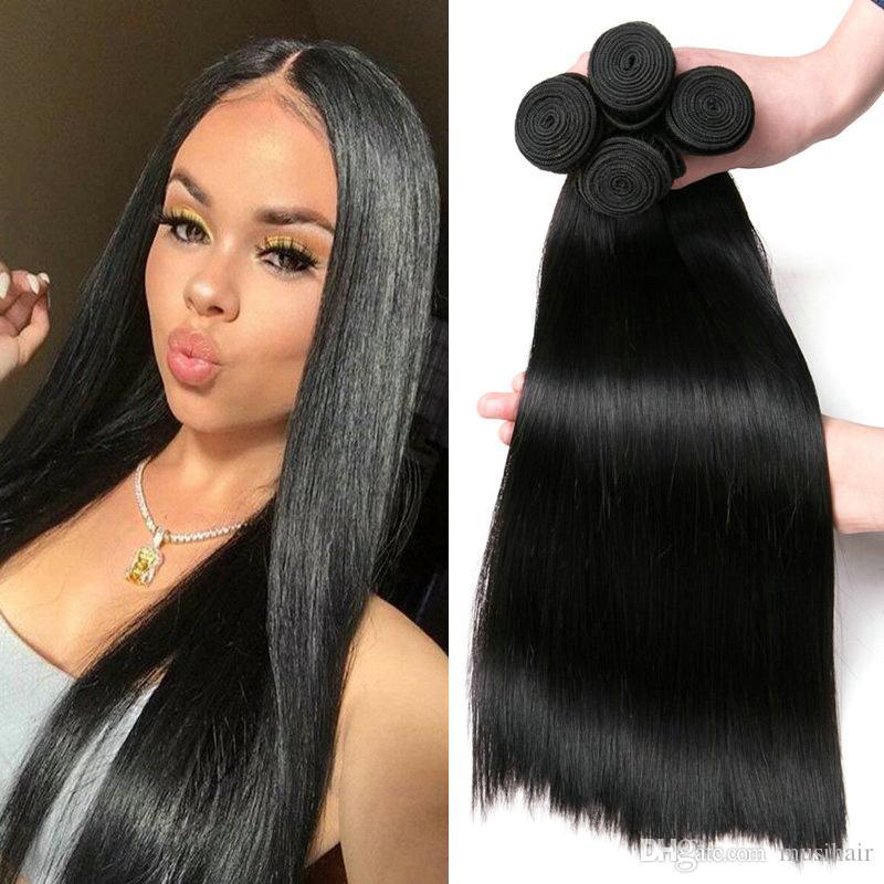 db3938d69bb Musi Cheap Peruvian Human Hair Straight Weave 4 Bndles 100% Remy Human Hair  Extension Peruvian Hair Bundles Natural Color Can Be Dyed