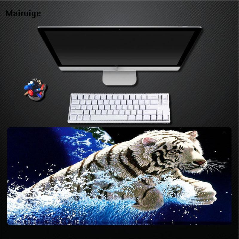 Mairuige Sfondo Blu Carino Tigre Bianca Mouse Pad Game Player Desktop Pad Mouse Da Tastiera Di Alta Qualità Mouse Durevole
