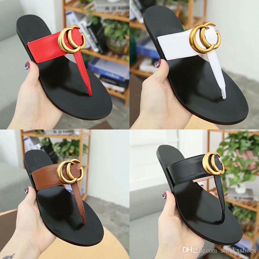 997b8147a Leather Thong Sandal Women Luxury Desinger Slippers Fashion Thin Black Flip  Flops Brand Shoe Ladie Beige Shoes Sandals Discount GGShoes Desert Boots  Mens ...