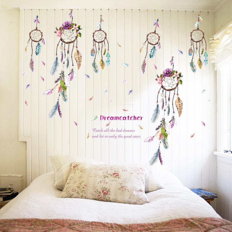 Plume De Mode Wall sticker Chambre DIY De Mariage Décoration Dream Catcher PVC Art Décalque Murale Home Decor Stickers Muraux