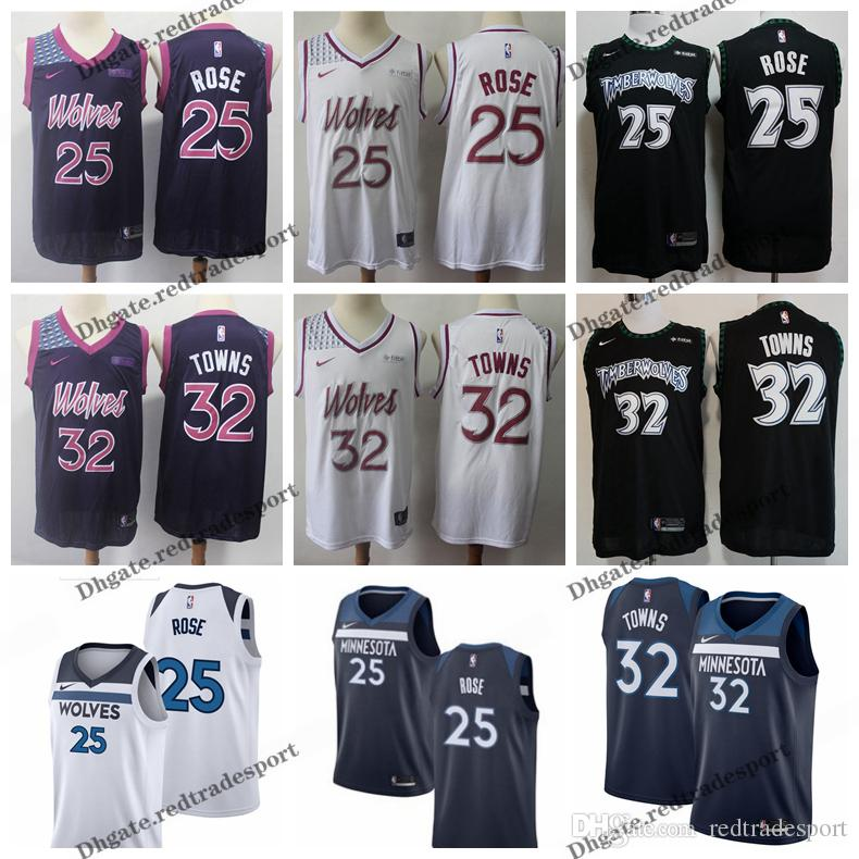 buy online 0ac1e 77ee5 2019 Earned #32 Minnesota Karl-Anthony Towns Andrew Wiggins Timberwolves  Edition Basketball Jersey City Derrick Rose Edition Stitched Shirts