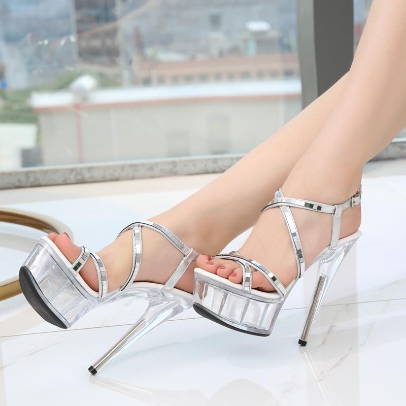 Boda Plataforma 15 Calientes Altos Cm Súper Nuevas Mujeres Tacones Impermeable De Sandalias Transparente Zapatos Femenino Cristal UzpSMV
