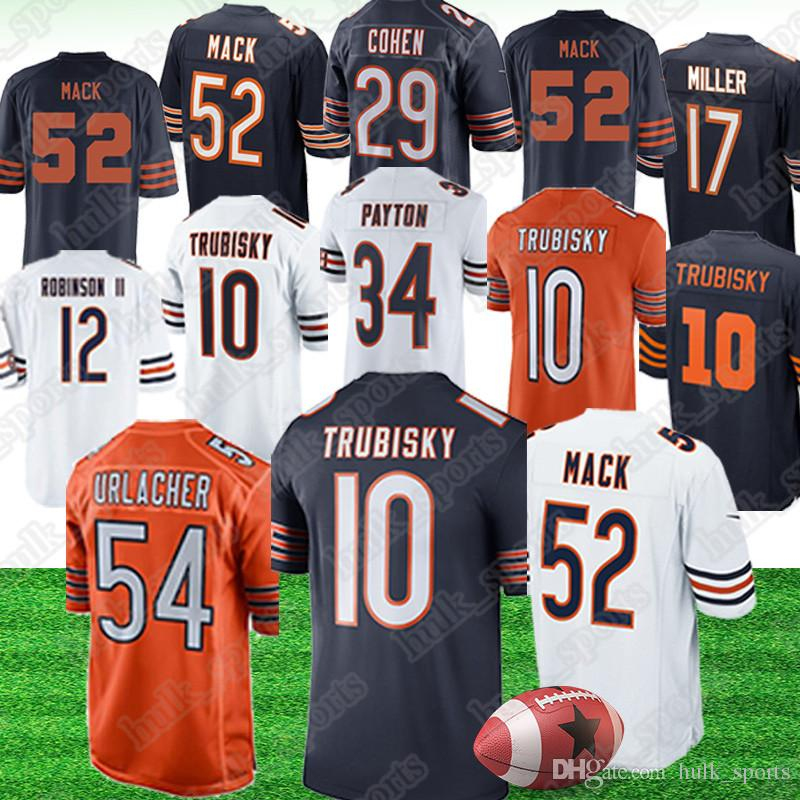 newest 90e16 bf2de Chicago 52 Khalil Mack bears jerseys 10 Mitchell Trubisky 58 Roquan Smith  34 Walter Payton jersey 39 Eddie Jackson american football jerseys