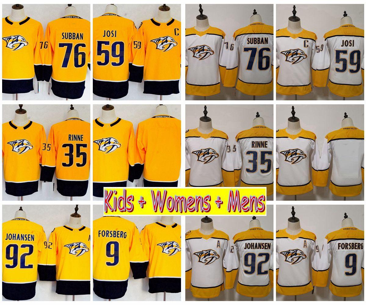 size 40 78e37 974ad 2019 Youth Nashville Predators Hockey Jerseys 76 PK Subban 92 Ryan Johansen  Pekka Rinne Filip Forsberg 59 Roman Josi Kids Womens Mens Shirts