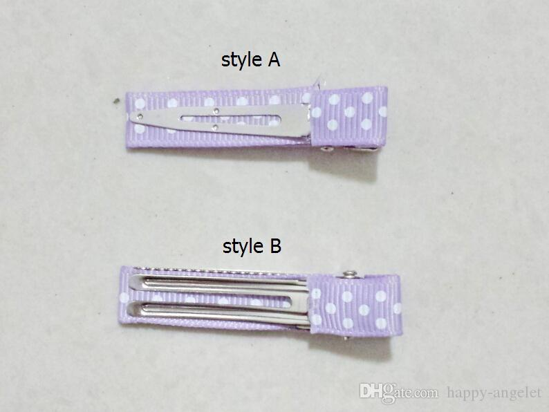 mini hair accessories bows clips layered polka dot ribbon covered Double Single Prong Duckbill Alligator Hairpins Baby headwear FJ3226