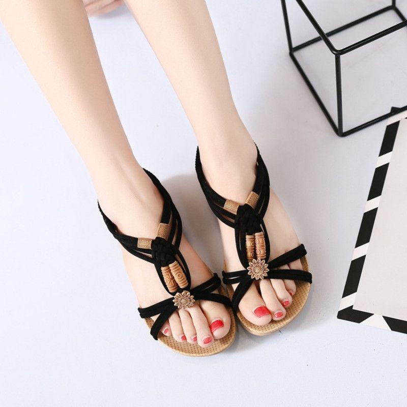 5204098e58e3 Oeak Casual Bohemian Ladies Thong Sandals Diamond Beads Slippers Ankle  Slingback Flats Flip Flops Shoes Beach Sandals High Heels Heels From Aiyin