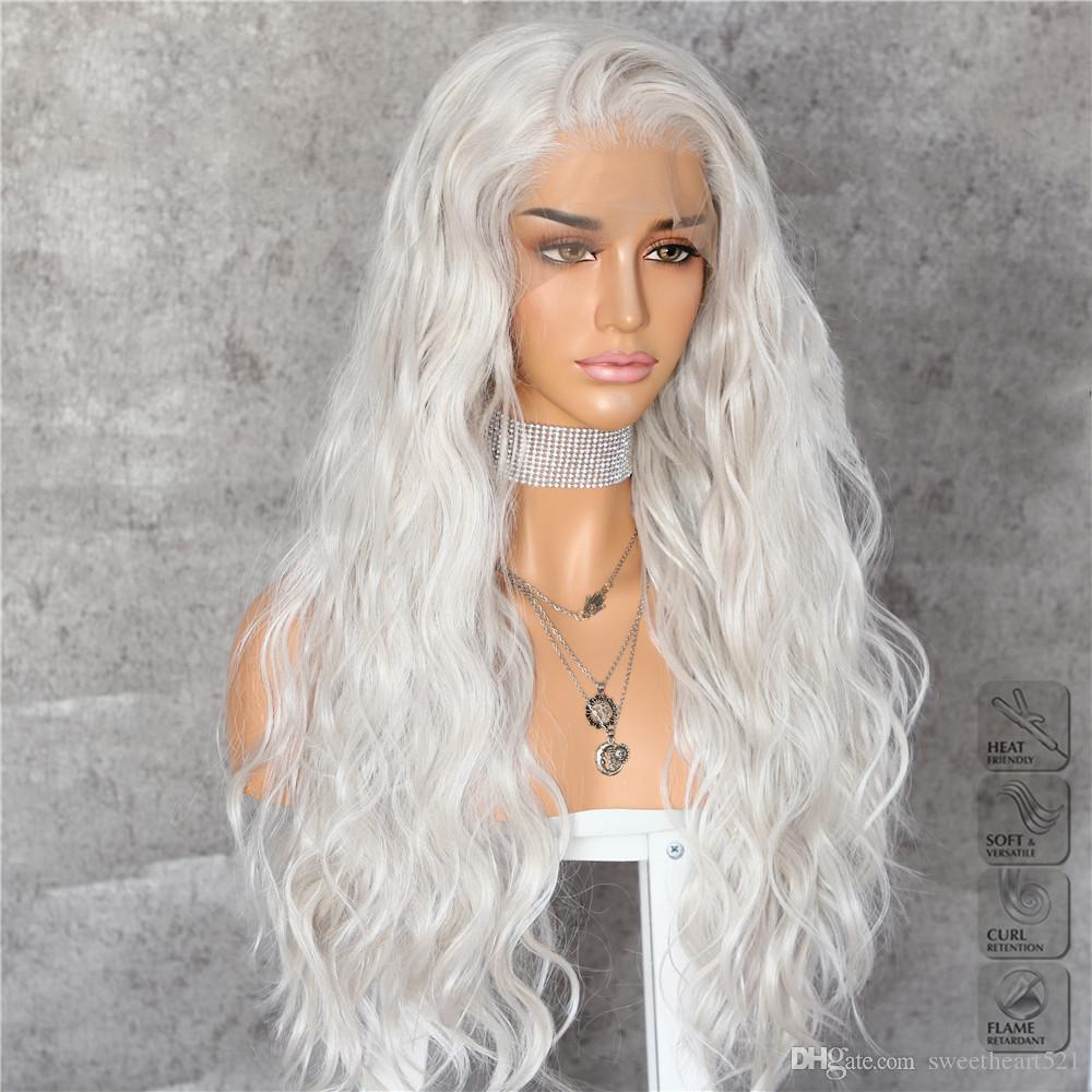 New Sexy Style Silvery White Long Water Wave Hair Daily Makeup Layer Halloween Heat Resistant Synthetic Lace Front Wigs for White Women