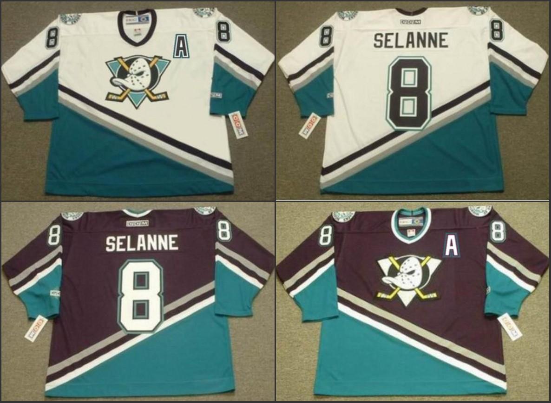 b92227001 2019 Men #8 TEEMU SELANNE Anaheim Mighty Ducks 1997 CCM Retro Home Ice  Hockey Vintage Stitched Jersey White Purple From Hellomicki, $39.04    DHgate.Com