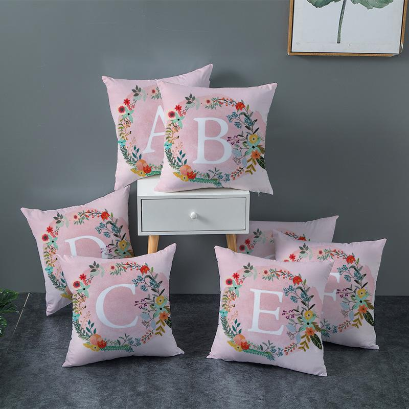 Garland Pattern Cushion Cover Peach Skin 26 English Letter Car Pillow Case Single Prints Pillow Covers 45*45cm 4 6jz E1