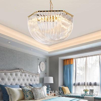 2019 Postmodern Fashion Gold Glass Crystal Bend Designer Club Hotel Light  Luxury Boutique Villa Metal Chandelier