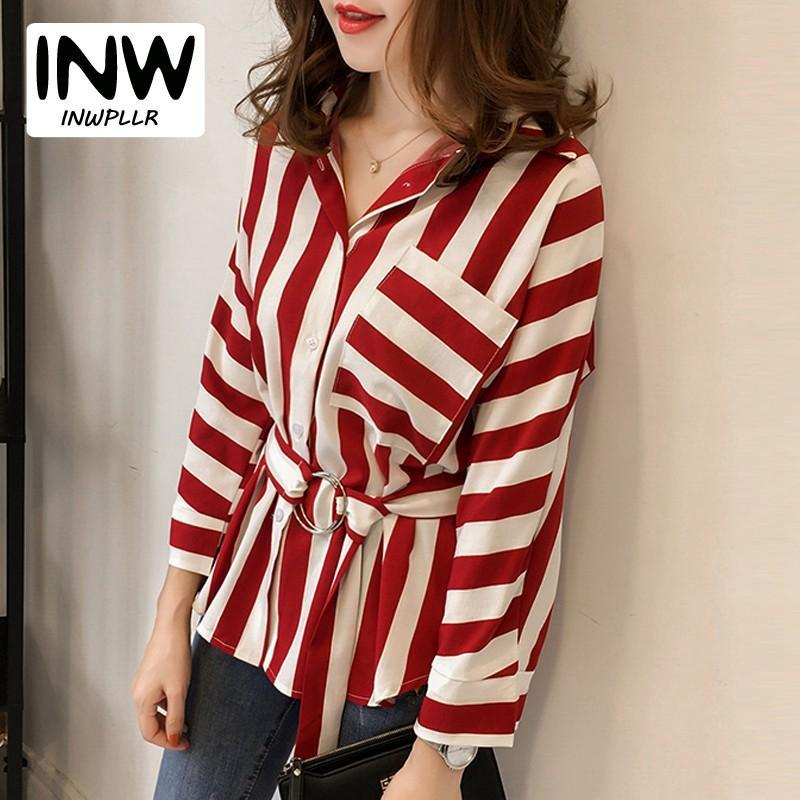 6ef26d7ffe1d9 New Women Blouses Shirts Mujer Striped Shirt Casual Full Sleeve Autumn Tops  Womens Plus Size Chiffon Blusas Chemise Femme Online with  21.54 Piece on  ...