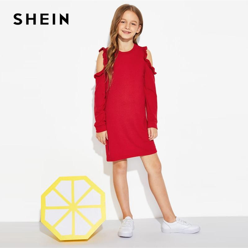 7a7dc7f5cf 2019 SHEIN Kiddie Red Solid Cold Shoulder Frill Cute Girls Dress 2019  Summer Long Sleeve Cut Out Mini Kids Dresses For Girls Clothing From  Gaozang, ...
