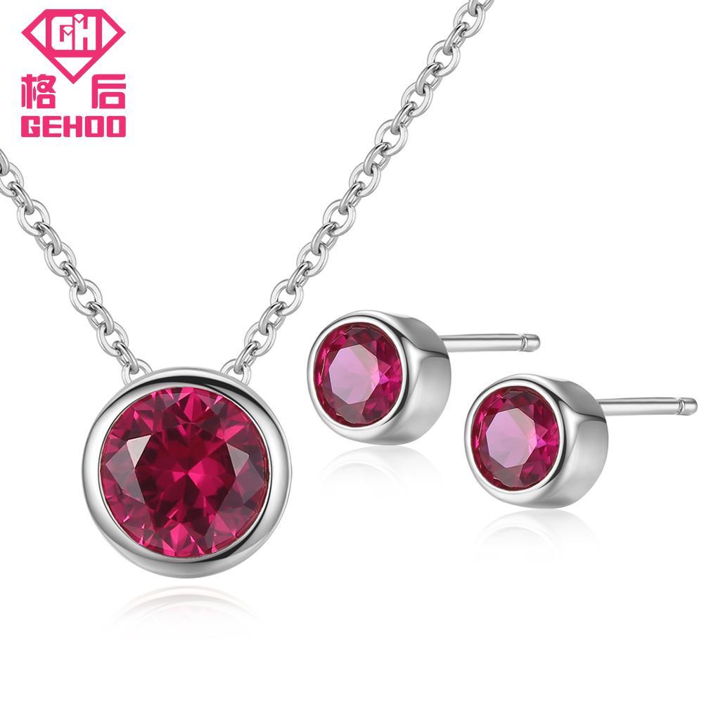 e3112241109e Compre GEHOO Sencilla Piedra Roja De Ruby De Plata Sólida 925 Conjunto De  Joyas Colgante Collar Stud Pendientes De Oro Rosa De Las Mujeres Boda  Bijoux A ...